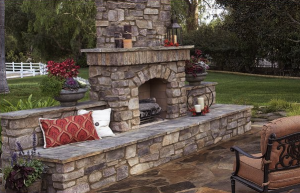 nice stone outdoor fireplace in fayetteville