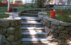 stone and concrete steps and retaining wall