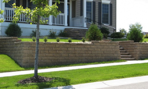 stone and brick retaining wall in fayetteville
