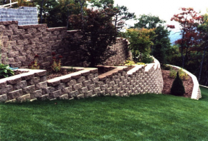 layered stone and brick retaining wall in fayetteville