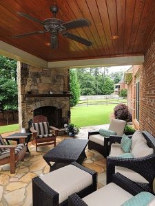 Nice backporch outdoor fireplace in Fayetteville Ar